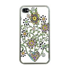 Frame Flower Floral Sun Purple Yellow Green Apple iPhone 4 Case (Clear)