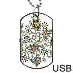 Frame Flower Floral Sun Purple Yellow Green Dog Tag USB Flash (One Side)
