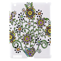 Frame Flower Floral Sun Purple Yellow Green Apple Ipad 3/4 Hardshell Case (compatible With Smart Cover)