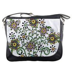 Frame Flower Floral Sun Purple Yellow Green Messenger Bags