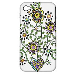 Frame Flower Floral Sun Purple Yellow Green Apple iPhone 4/4S Hardshell Case (PC+Silicone)