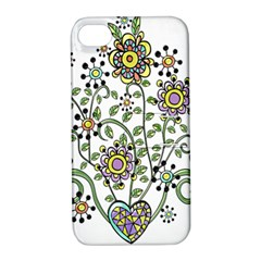 Frame Flower Floral Sun Purple Yellow Green Apple iPhone 4/4S Hardshell Case with Stand