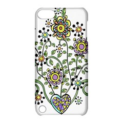 Frame Flower Floral Sun Purple Yellow Green Apple iPod Touch 5 Hardshell Case with Stand