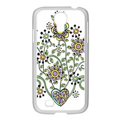 Frame Flower Floral Sun Purple Yellow Green Samsung GALAXY S4 I9500/ I9505 Case (White)