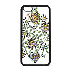 Frame Flower Floral Sun Purple Yellow Green Apple Iphone 5c Seamless Case (black)