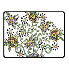 Frame Flower Floral Sun Purple Yellow Green Double Sided Fleece Blanket (Small)