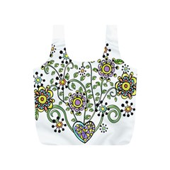 Frame Flower Floral Sun Purple Yellow Green Full Print Recycle Bags (S)