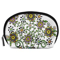 Frame Flower Floral Sun Purple Yellow Green Accessory Pouches (Large)