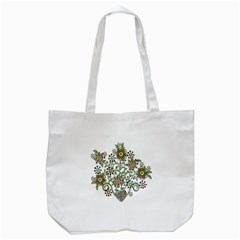 Frame Flower Floral Sun Purple Yellow Green Tote Bag (White)