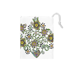 Frame Flower Floral Sun Purple Yellow Green Drawstring Pouches (Small)