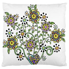 Frame Flower Floral Sun Purple Yellow Green Standard Flano Cushion Case (One Side)