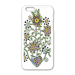 Frame Flower Floral Sun Purple Yellow Green Apple iPhone 6/6S White Enamel Case