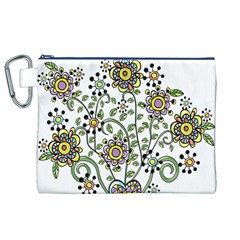 Frame Flower Floral Sun Purple Yellow Green Canvas Cosmetic Bag (XL)