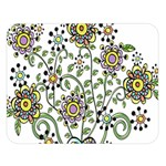 Frame Flower Floral Sun Purple Yellow Green Double Sided Flano Blanket (Large)  80 x60 Blanket Front