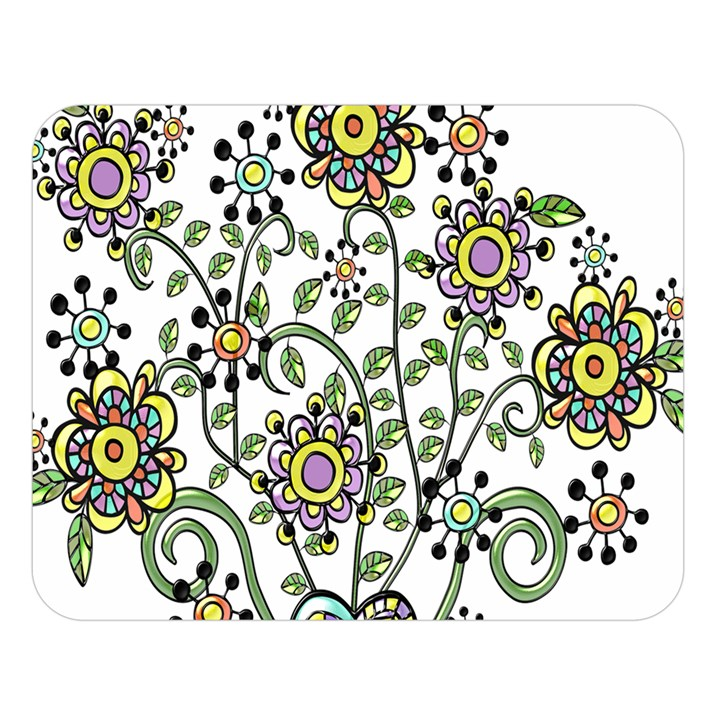 Frame Flower Floral Sun Purple Yellow Green Double Sided Flano Blanket (Large)