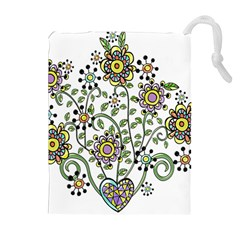 Frame Flower Floral Sun Purple Yellow Green Drawstring Pouches (Extra Large)