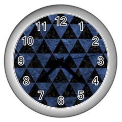 TRI3 BK-MRBL BL-STONE Wall Clocks (Silver)