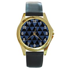 TRI3 BK-MRBL BL-STONE Round Gold Metal Watch