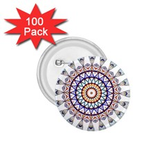Circle Star Rainbow Color Blue Gold Prismatic Mandala Line Art 1.75  Buttons (100 pack)
