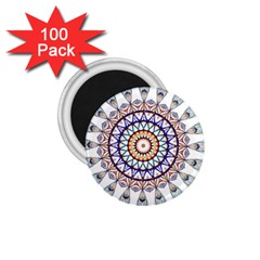 Circle Star Rainbow Color Blue Gold Prismatic Mandala Line Art 1.75  Magnets (100 pack)