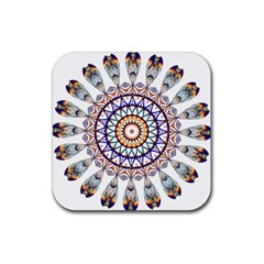 Circle Star Rainbow Color Blue Gold Prismatic Mandala Line Art Rubber Square Coaster (4 pack)