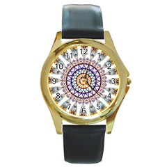 Circle Star Rainbow Color Blue Gold Prismatic Mandala Line Art Round Gold Metal Watch