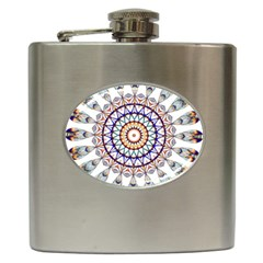 Circle Star Rainbow Color Blue Gold Prismatic Mandala Line Art Hip Flask (6 Oz)