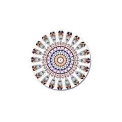 Circle Star Rainbow Color Blue Gold Prismatic Mandala Line Art Golf Ball Marker