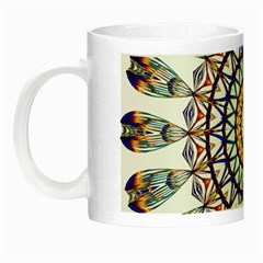 Circle Star Rainbow Color Blue Gold Prismatic Mandala Line Art Night Luminous Mugs