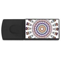 Circle Star Rainbow Color Blue Gold Prismatic Mandala Line Art USB Flash Drive Rectangular (4 GB)