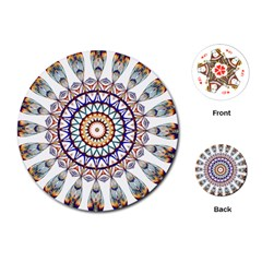 Circle Star Rainbow Color Blue Gold Prismatic Mandala Line Art Playing Cards (Round)