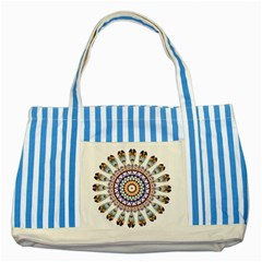 Circle Star Rainbow Color Blue Gold Prismatic Mandala Line Art Striped Blue Tote Bag