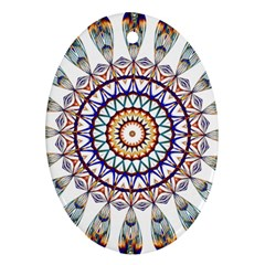 Circle Star Rainbow Color Blue Gold Prismatic Mandala Line Art Oval Ornament (Two Sides)