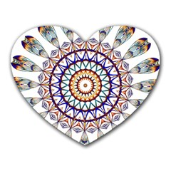 Circle Star Rainbow Color Blue Gold Prismatic Mandala Line Art Heart Mousepads