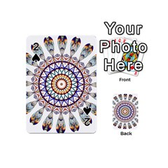 Circle Star Rainbow Color Blue Gold Prismatic Mandala Line Art Playing Cards 54 (Mini)