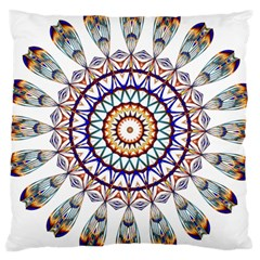 Circle Star Rainbow Color Blue Gold Prismatic Mandala Line Art Large Cushion Case (one Side)