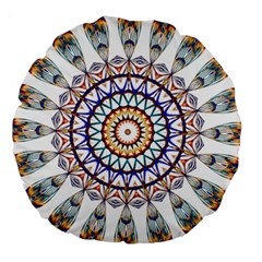 Circle Star Rainbow Color Blue Gold Prismatic Mandala Line Art Large 18  Premium Round Cushions