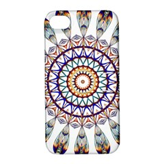 Circle Star Rainbow Color Blue Gold Prismatic Mandala Line Art Apple iPhone 4/4S Hardshell Case with Stand