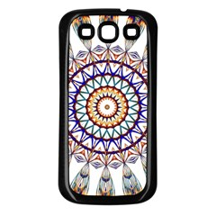 Circle Star Rainbow Color Blue Gold Prismatic Mandala Line Art Samsung Galaxy S3 Back Case (Black)