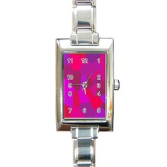 Voronoi Pink Purple Rectangle Italian Charm Watch