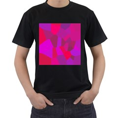 Voronoi Pink Purple Men s T-Shirt (Black) (Two Sided)