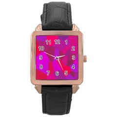 Voronoi Pink Purple Rose Gold Leather Watch