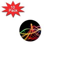 Vortex Rainbow Twisting Light Blurs Green Orange Green Pink Purple 1  Mini Magnet (10 Pack)