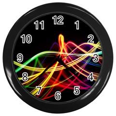 Vortex Rainbow Twisting Light Blurs Green Orange Green Pink Purple Wall Clocks (Black)