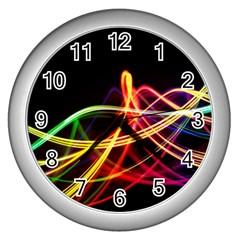 Vortex Rainbow Twisting Light Blurs Green Orange Green Pink Purple Wall Clocks (silver)