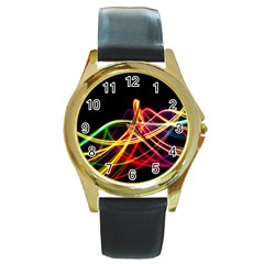 Vortex Rainbow Twisting Light Blurs Green Orange Green Pink Purple Round Gold Metal Watch
