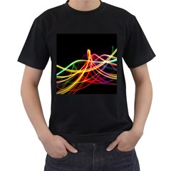 Vortex Rainbow Twisting Light Blurs Green Orange Green Pink Purple Men s T-Shirt (Black) (Two Sided)