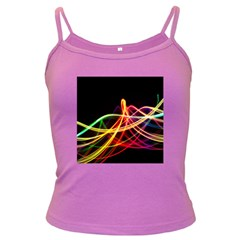Vortex Rainbow Twisting Light Blurs Green Orange Green Pink Purple Dark Spaghetti Tank