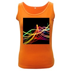 Vortex Rainbow Twisting Light Blurs Green Orange Green Pink Purple Women s Dark Tank Top