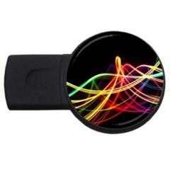 Vortex Rainbow Twisting Light Blurs Green Orange Green Pink Purple USB Flash Drive Round (4 GB)